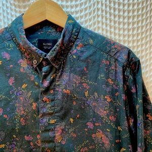 Globe Baroque Floral Print Button Down 🌍 💐